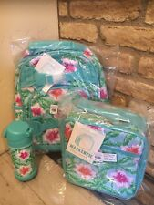 Pottery Barn Kids Aqua Floral Flower Palm Small Backpack Lunchbox Water Bottle