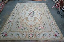 """2001 Hand Woven Portuguese Wool Aubusson Needlepoint Rug  8'6"""" x 11' Portugal"""