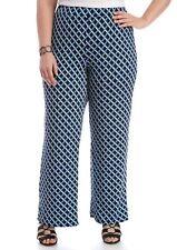Kim Rogers Women's Plus Size Shadow Box Soft Pant Blue Magnitude 3X