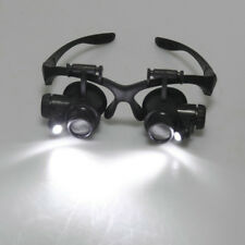 Head Mounted Magnifying Glass Loupe w/ LED Light Watchmaker Jewelry Repair Tools