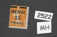 #2522   MH stamp / 1922 Memel 25 / 05 overprint / Lithuania / Prussia / Germany