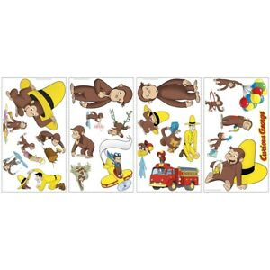 CURIOUS GEORGE storybook wall stickers 18 decals monkey yellow hat balloons man