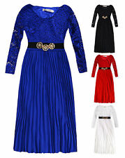 Girls Long Sleeved Lace Pleated Maxi Dress New Kids Party Dresses 3-4  4-5 Years