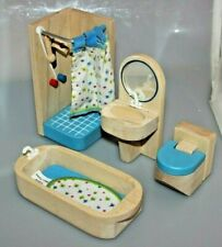 Doll House Furniture - 4-Piece Bathroom Set - Shower, Tub, Toilet, Vanity - Used