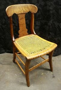 Antique Vintage Old SOLID Walnut Wood Wooden Side Dining Chair Curved Caned Seat