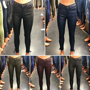 WOMEN LEATHER HIGH WAIST LEGGINGS TROUSERS WET LOOK JEANS BOTTOM LACES PENT..