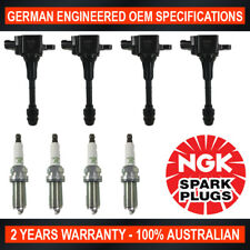 4x NGK LFR5A-11 Spark Plugs & 4x Swan Ignition Coils for Nissan X-Trail T30 2.5L