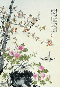 Framed Print - Traditional Oriental Artwork with Birds (Asian Japanese Picture)