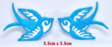 #961 Pair Of Aqua Blue Swallows Rockabilly Kitsch Embroidered Iron/SEW ON Patch