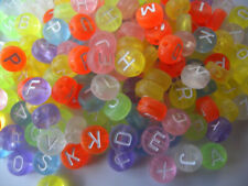 200 PASTEL Transparent Beads with WHITE Random Alphabet/ Letter 7mm hole 1.5mm
