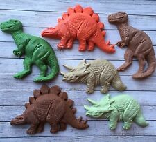 6 Large Chunky Mixed Brown & Green Dinosaur Edible Cake/cupcake Toppers