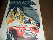 "Lithography Canvas Print Art Deco 39"" x 26.5""  MONACO GRAND PRIX 1952 B MINNE"