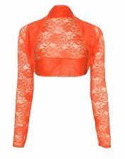 Womens Ladies Long Sleeved Floral Lace Bolero Shrug Crop Top Cardigan Size 8-26