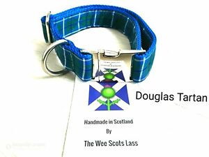 Dog Collar Lead Set The Wee Scots Lass Douglas Tartan Inside and Out Size Small