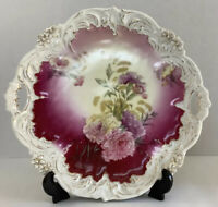 Vintage,Beautifully Decorative Floral Serving Platter/Plate With Handles-10 1/2""