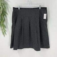 Nine West Womens A-line Skirt Size 16 Black White Polka Dot Cotton Stretch NWT