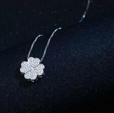 Four-leaf Clover 925 Sterling Silver Micro-inlay Cubic Zirconia Pendant Necklace