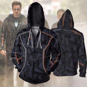 Avengers Infinity War Iron Man Tony Stark Sweats Hoodie Coat Jacket Sweatshirt