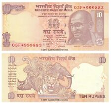 India 10 Rupees 2011 Star Replacement Notes P95t Very High Serial No.s UNC
