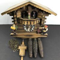 German Cuckoo Wall Clock Chalet Cabin RomanceWaltz 3-Day Manual PARTS or REPAIR