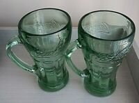 "Set of 2 ""Coca-Cola"" -""Coke-Cola"" Green Glass With Handle Mug 14oz Heavy Vintage"