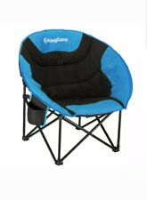 KingCamp Moon Saucer Camping Chair Cup Holder Steel Frame Folding Padded Round