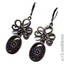 Ohrringe mit GLAS-Cabochons, Bronze-Vintage-Look, Ohrhänger, 0855