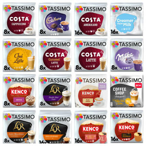 TASSIMO T-DISCS COFFEE PODS - BUY 3+ PACKS & GET FREE UK POST! Latte, Cadbury