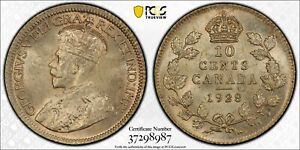1928 Canada 10 Cents PCGS MS64 Lot#A212 Silver! Choice UNC!