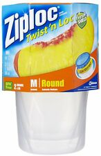 Twist 'n Loc 2 Medium clear rOund FOOD STORAGE CONTAINERS 32oz = qt ZIPLOC 18035