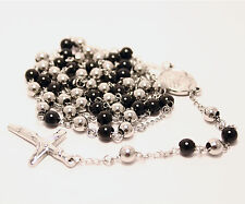 Rosary Chain Silver Black Stainless Steel Pendant Cross 36In 6mm Bead Necklace