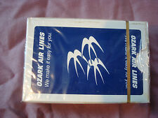 NEW in cellophane Vintage OZARK AIRLINES Playing Cards Blue w/ White Swallows