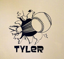 BASEBALL Bursting Through Wall w/ Personalized  Name Vinyl Wall Decal