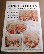 Lrge illustrated 1909 color poster ad PICCADILLY HOTEL London England  REGENT ST