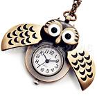 Retro Bronze Steampunk Owl Quartz Pocket Watch Pendant Chain Necklace Vintage
