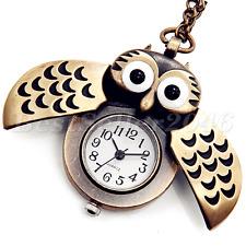 Retro Bronze Vintage Steampunk Owl Quartz Pocket Watch Pendant Necklace Chain