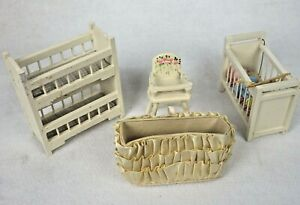 Dollhouse Miniature Baby Wooden Nursery Crib Deck Bed High Chair Furniture Lot 4