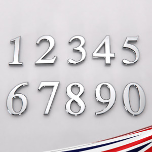 House Door Numbers Self Adhesive Chrome Home 50mm 70mm 90mm UK