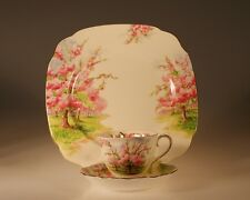 Royal Albert British Blossom Time Trio,  Cup & Saucer and Plate c. 1950s