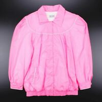 Vintage Neon Pink Puff Sleeve Button Up Shell Jacket Women's Size XL
