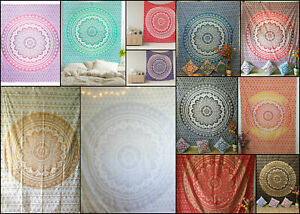 Beautiful Mandala Design Bedspread Twin Queen Wall Hanging Poster Tapestry Gold