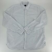 J.Crew Mens Long Sleeve Button Down Shirt SIze 2XL XXL White Windowpane Plaid