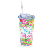"Insulated Tumbler ""Live Life In a Bikini"" Cup Flamingo 20 oz Clear Lid and Straw"