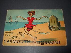 1909 DONALD MCGILL COMIC SEASIDE BEACH YARMOUTH SO BRACING BATHING MACHINE HUMOR