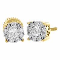 14K Yellow Gold Diamond Solitaire Accent Flower Halo Stud 6.25mm Earrings 3/4 Ct
