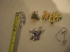 Brooches lot of 4 Jingle Bells,Christmas Tree,Music Note,Angel,Coffee Pot w Cup