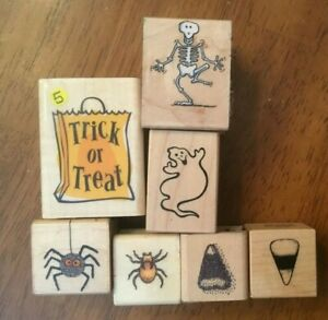 Halloween Lot Skeleton Ghost Candy Corn Spiders Candy Corn PSX Hero Rubber Stamp