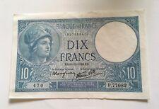 Billets 10 Francs Minerve 1940