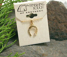 HORSE & WESTERN JEWELLERY JEWELRY GOLD TONE  HORSESHOE NECKLACE WITH CRYSTAL