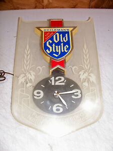 For Repair Heileman's Old Style Beer Bar Wall Clock Advertising Sign Old Vintage